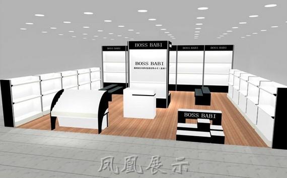 打造强势的品牌形象,此鞋店展示柜采用高密度板烤漆材制作,外观精美